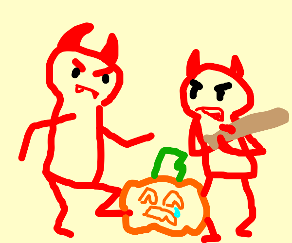 Demons bullying pumpkin