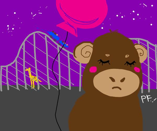 Giraffe hides from monkey under rollercoaster