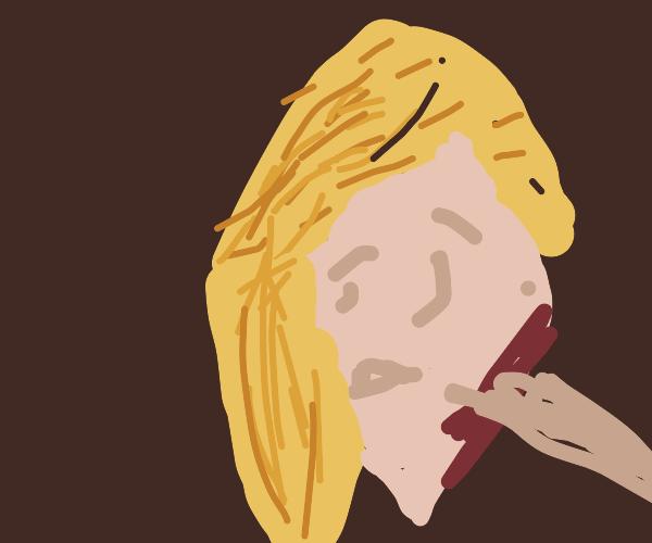 Vampire bites blonde girl