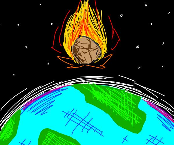Meteorite falling towards earth