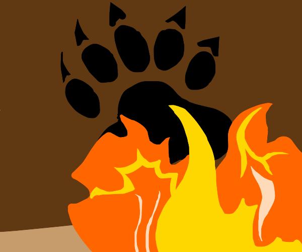 bear paw on fire