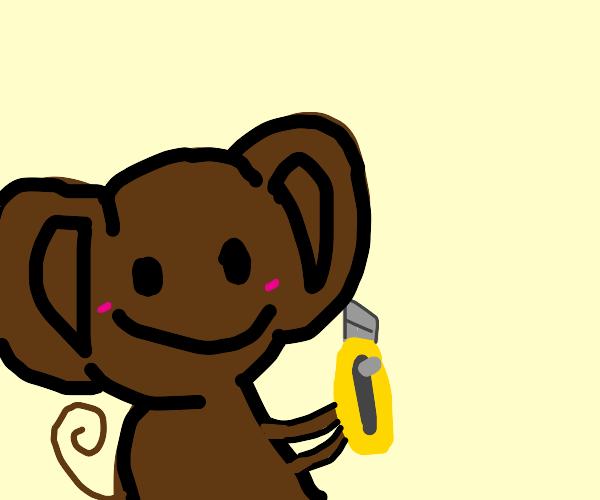 Happy monkey with a razor