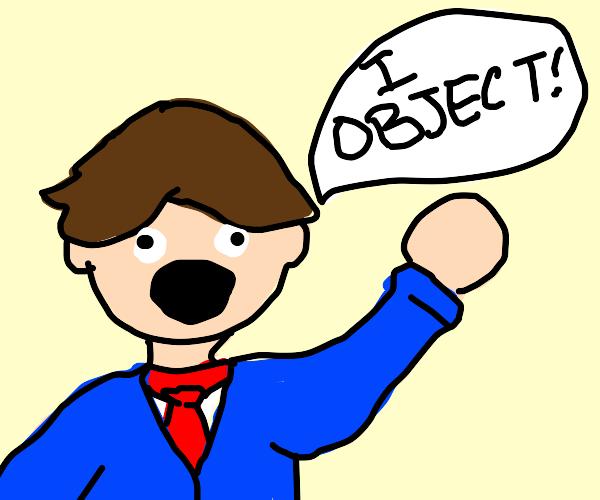 blue suit man objection