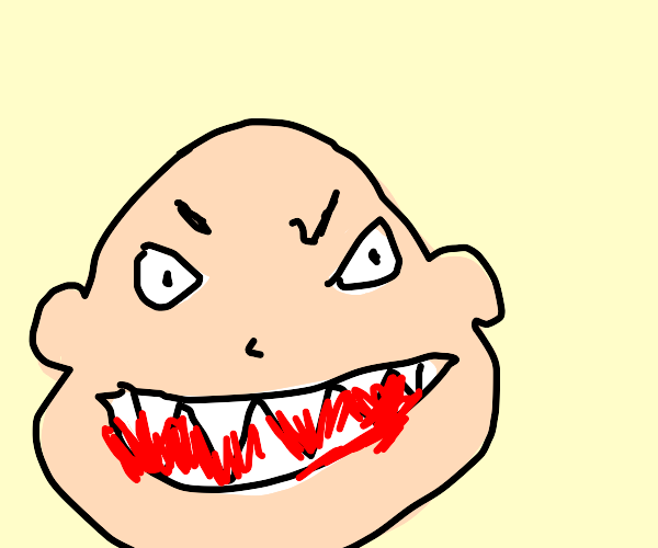 Pale man with big teeth and bloody mouth