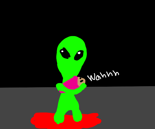 An Alien standing in blood holding a baby