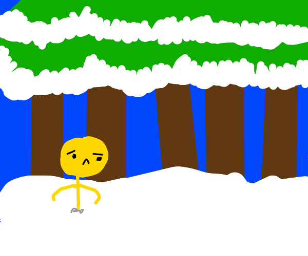 yellow stickman is stuck in snowy forest
