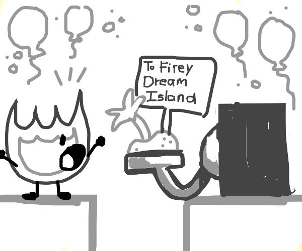 Firey finally gets Dream Island