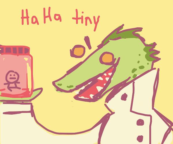 scientist lizard makes tiny guy