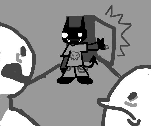 Spooky dude enters door