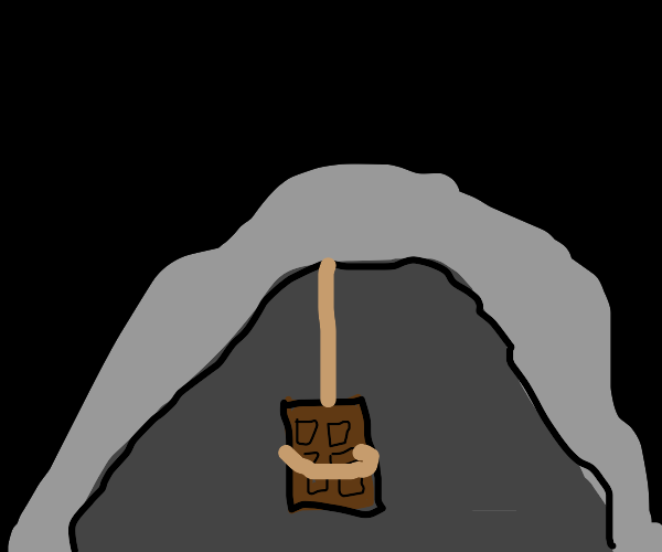 Chocolate bar hung itself in a cave