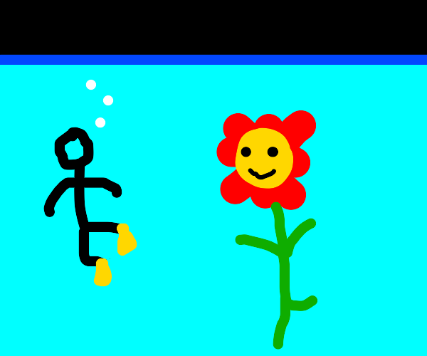 Scuba diving with my flower friend