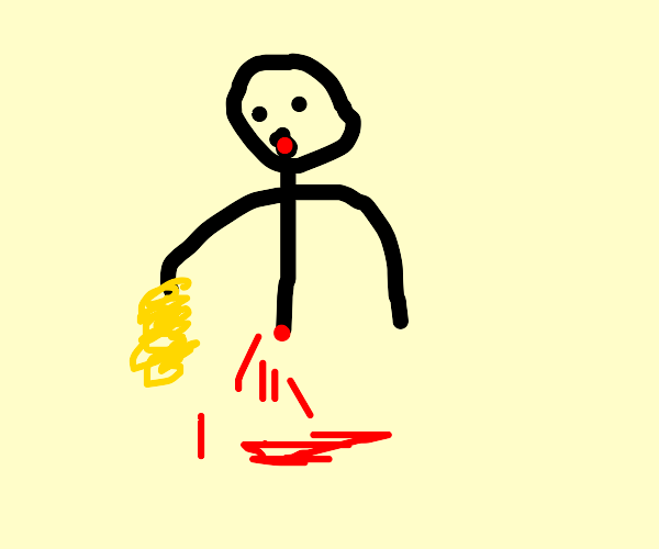 Half of a man eating spaghetti w/ his hands