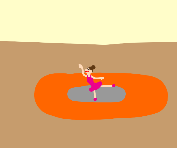 Ballerina dancing on lava in a crater