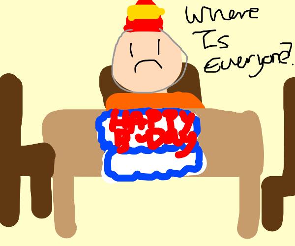 sad kid sitting because noone came tobirthday