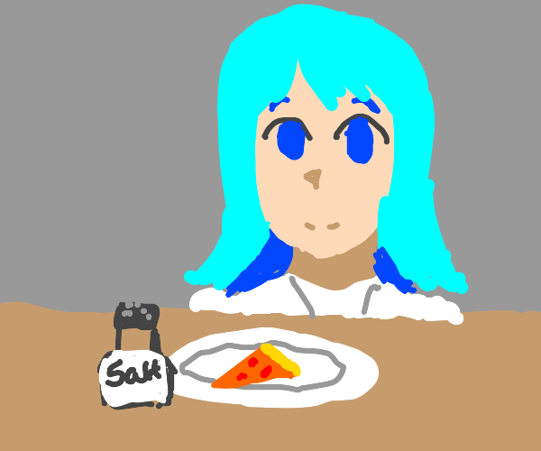 blue hair girl has pizza and salt