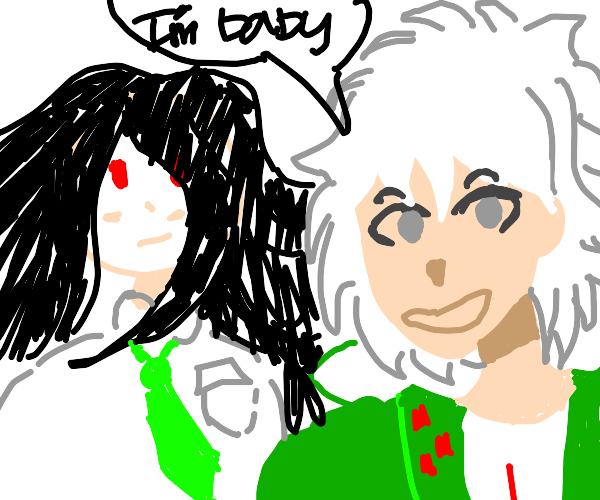 "nagito says ""i'm baby"" next to izuru"