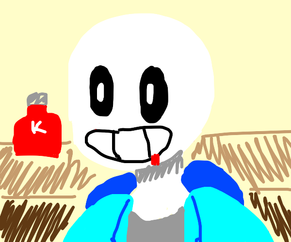 sans undertale got ketchup on his face