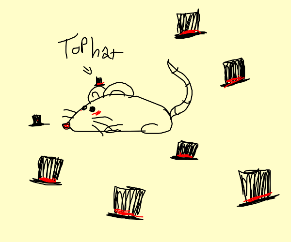 A mouse, with the tiniest of top hats.