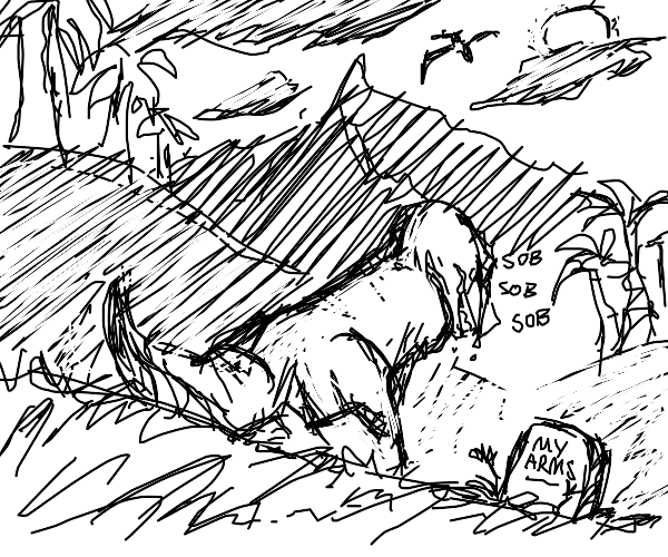 armless dino sit in front of grave,crying