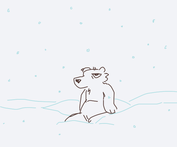 polar bear sitting dejectedly in the snow