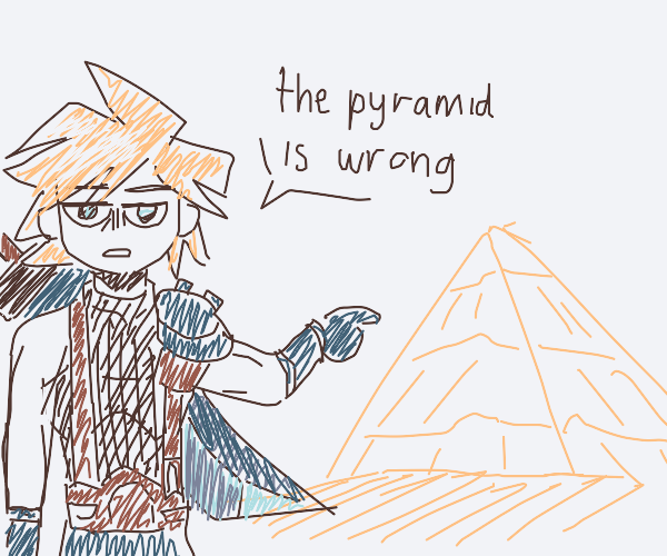 Cloud disagreeing with a pyramid