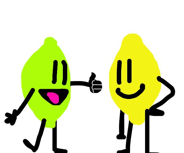 Lime gives lemon friend a thumbs up