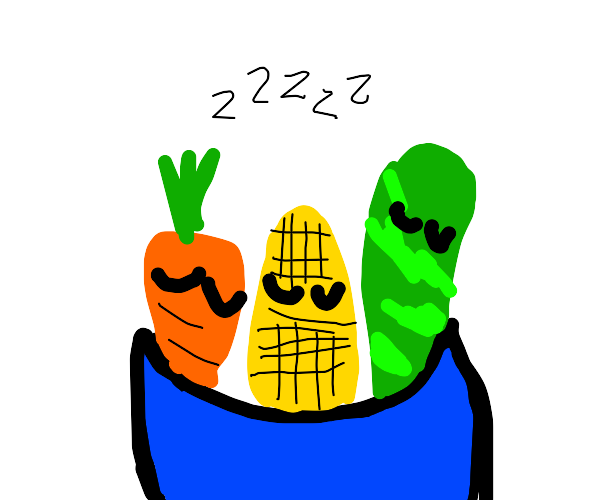 A carrot, corn, and cucumber sleeping in bowl
