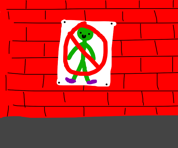 posters against green man with purple shoes
