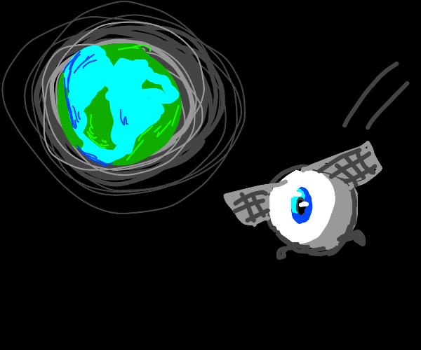 Eyeball spaceship flying near Earth