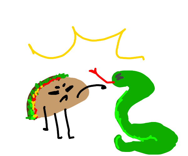 angry taco and snake fight