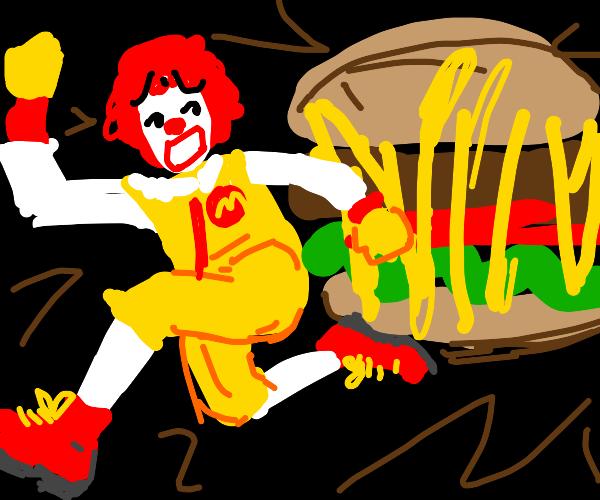 Ronald mcDonald gets eaten by a giant burger