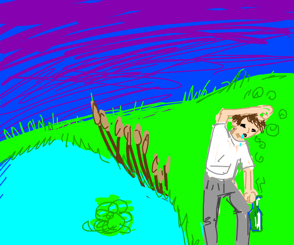 dizzy drunk man walks next to a pond