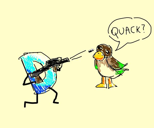 Drawception D shoots at a duck