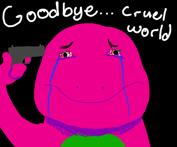 Barney holds gun to his mouth
