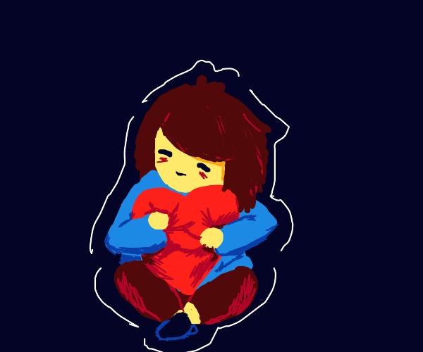 Frisk hugging his heart