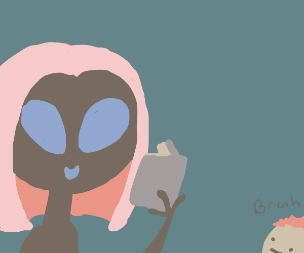 alien mom with pink hair reads to baby