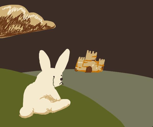 Rabbit sad next to castle