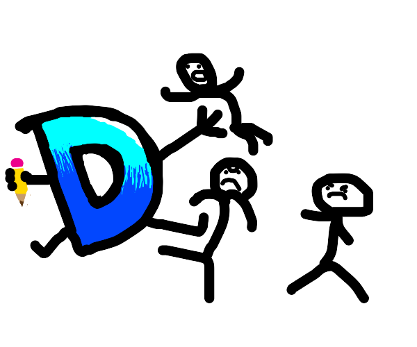 Drawception D fighting stickmen