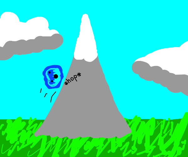blue blob does his best to climb the mountain