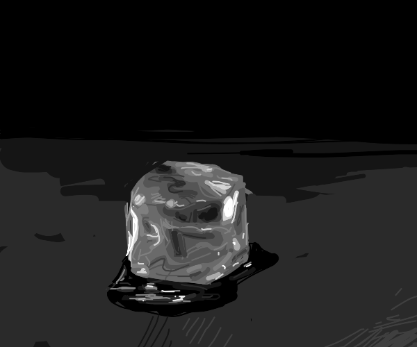 Ice cube in darkness