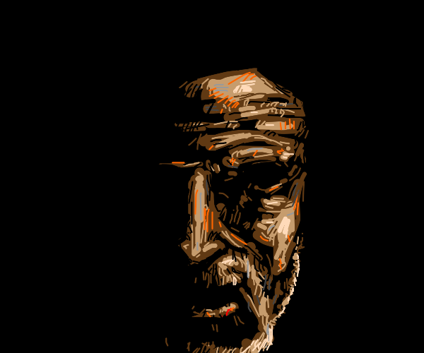 Old man's face in the darkness
