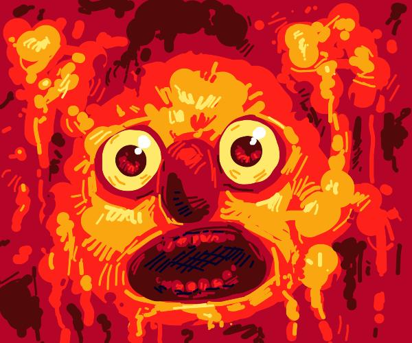 Yellmo escaping from his molten lava prison