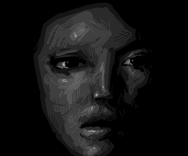 Female face in shadows