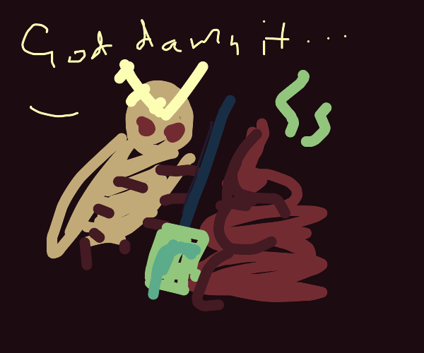 moth cleaning up a pile of poop