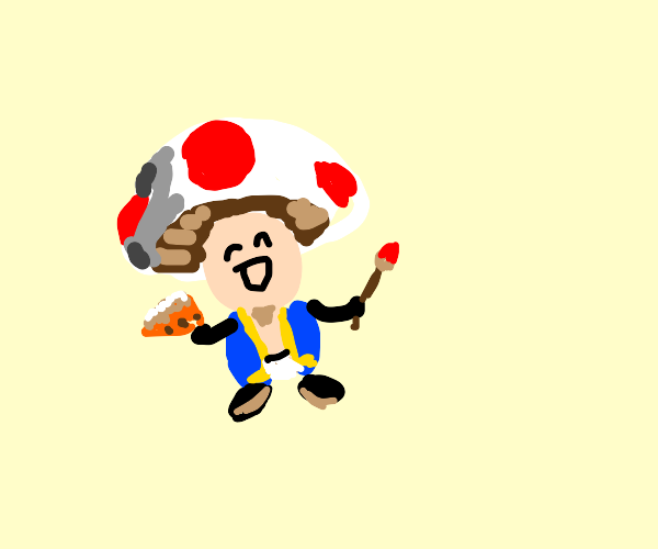 Toad with a paintbrush and a cake