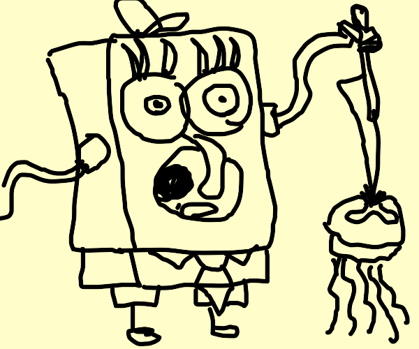 SpongeBob  Stabbing a  jellyfish