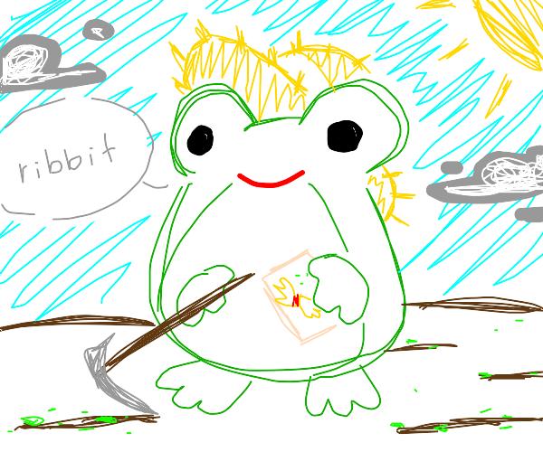 Frog planting crops