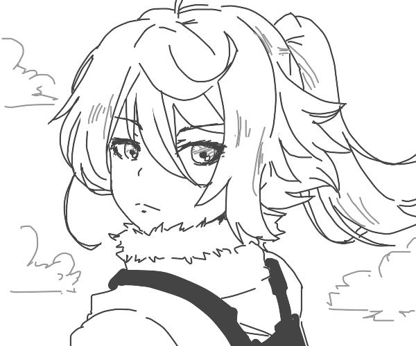 Anime Girl looking back
