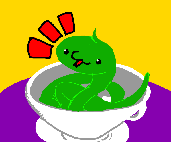 Small green snake in a gray teacup