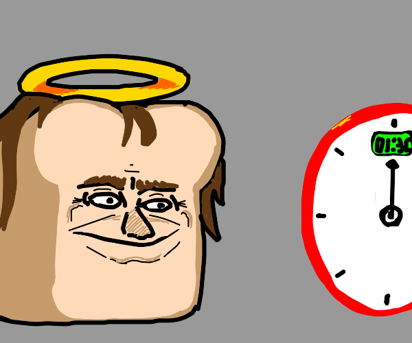 jesus bread looks at clock